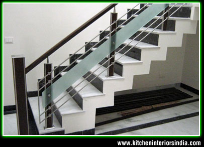 Upstair railings home up stair railings suppliers punjab for Duplex house designs in india interior staircase